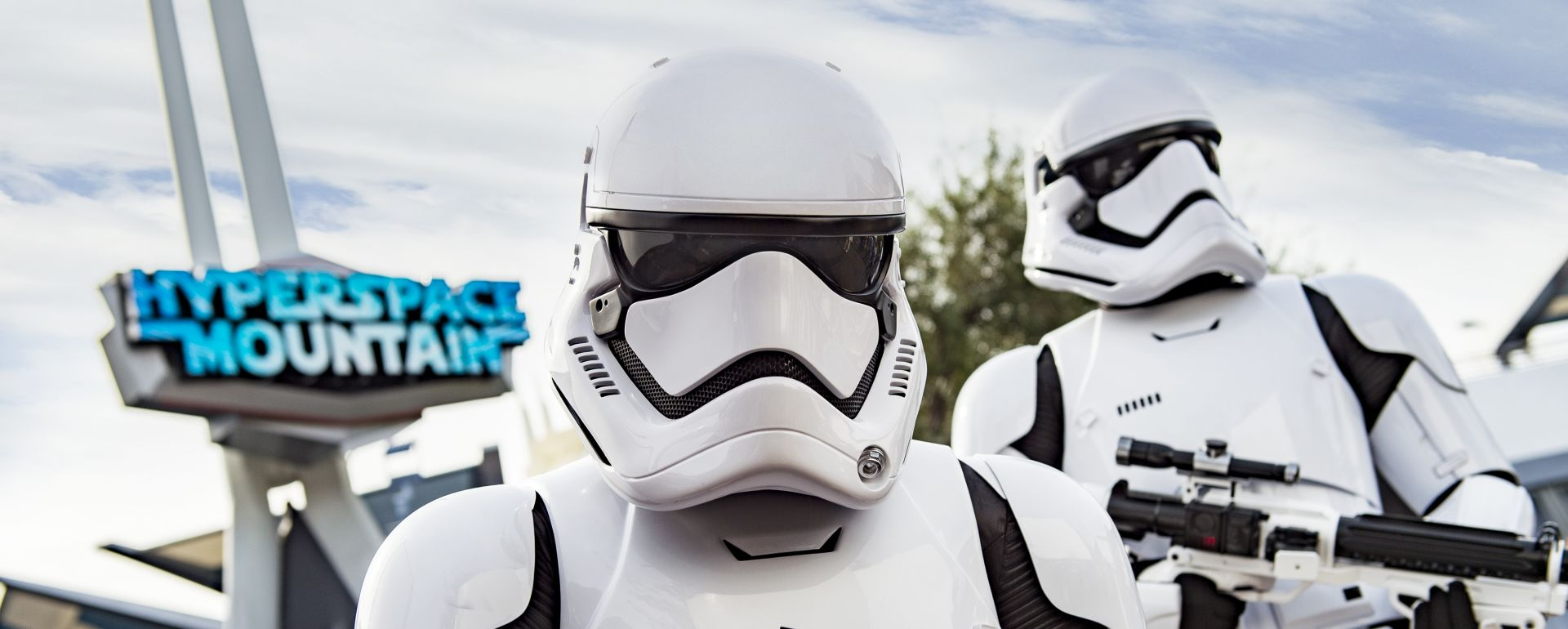 Storm troopers at Disneyland in front of Hyperspace mountain